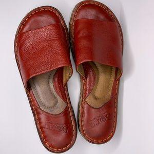 6d20db767b9 Born Val Slide Slip On Sandals Red Leather 8M EUC